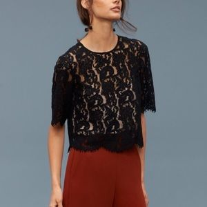 Wilfred Lapointe Black Lace Semi Sheer Blouse